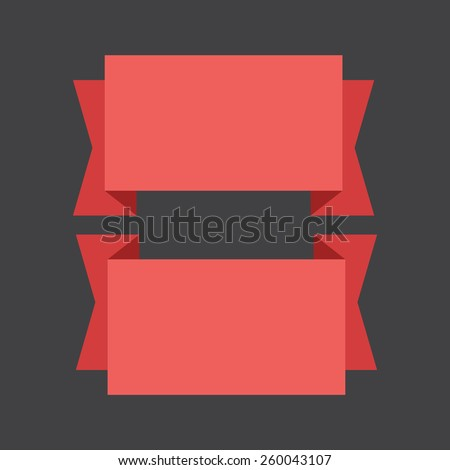 vector red banners ribbons on a black background.