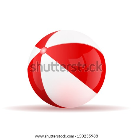 Vector red beach ball isolated on a white background. Fitness symbol - stock vector