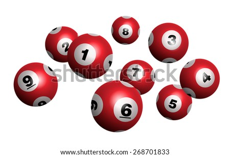 Vector Red Bingo / Lottery Number Balls