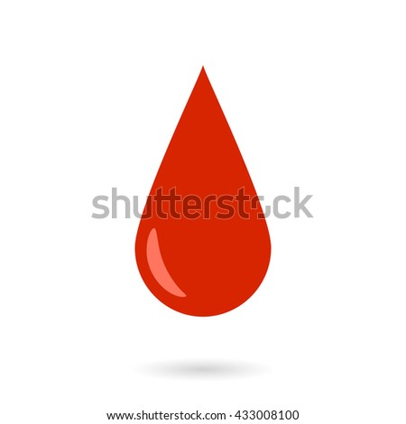 Vector Red Blood Drop Icon isolated on white.