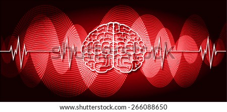 vector red brain processes technology, creative idea concept. wave - stock vector