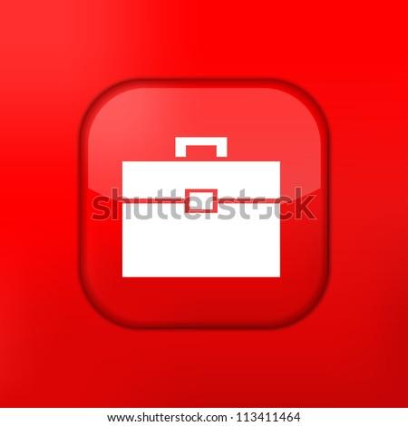 Vector red Briefcase icon. Eps10. Easy to edit - stock vector