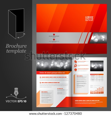 Vector red brochure template design with gray elements. EPS 10 - stock vector