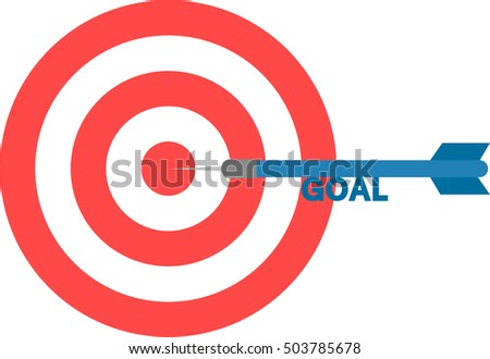 Vector red bulls eye and blue dart with text goal is in the center.