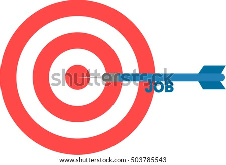Vector red bulls eye and blue dart with text job is in the center.