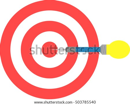 Vector red bulls eye target and yellow blue light bulb dart is in the center.
