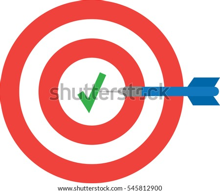 Vector red bullseye with check mark and blue dart is in the center.