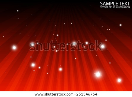 Vector red burst rays spreading abstract background template - Abstract sparkles over  red rays background illustration - stock vector
