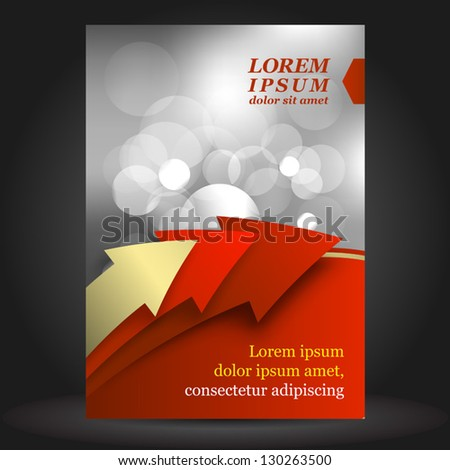 Vector red business brochure cover design with three arrows. EPS 10 - stock vector