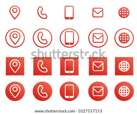 Vector red business card contact information stock vector royalty vector red business card contact information icons reheart Images