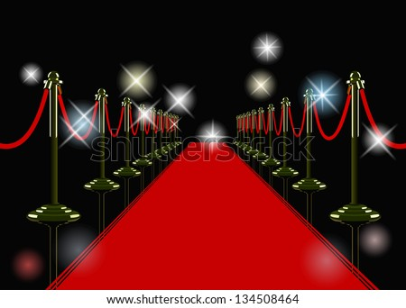 vector red carpet at night with flashes - stock vector