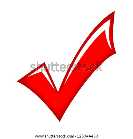 Vector red check mark - stock vector