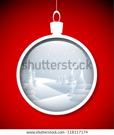 Vector red Christmas card with snowy landscape in the decoration - stock vector