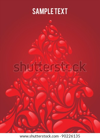 vector red christmas tree - stock vector