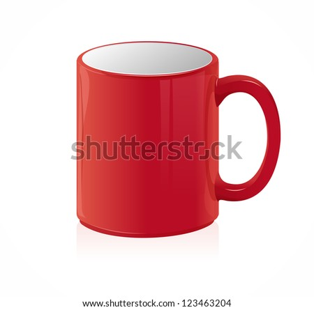 Vector red coffee cup isolated on white - stock vector