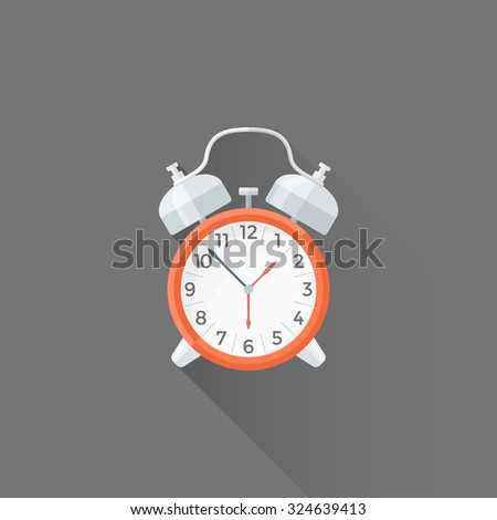 vector red color metal elements flat design mechanical alarm clock isolated illustration gray background long shadow