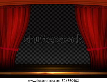 Vector red curtains in theater or opera. Dark red curtain scene gracefully on transparent background. Elegant vector backdrop for poster and cinema screen