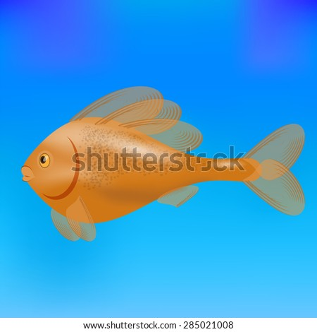Vector Red Cute Sea Fish Isolated on Blue Water Background. - stock vector