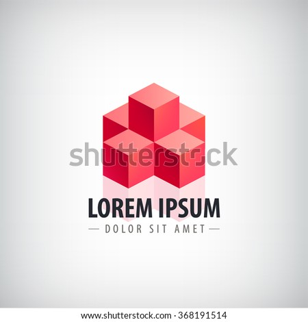 Vector red 3d abstract logo, cubes logo, geometric icon. Structure, pyramid isolated, identity - stock vector