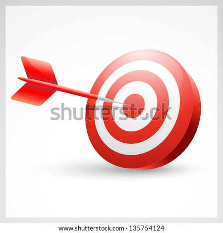 vector red dart showing success - stock vector