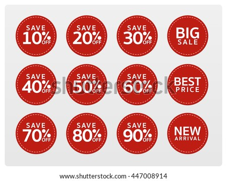 Vector red discount tags, sale, flat design, big sale, best price, new arrival