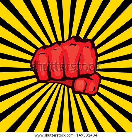 vector red fist icon.workers rights concept.