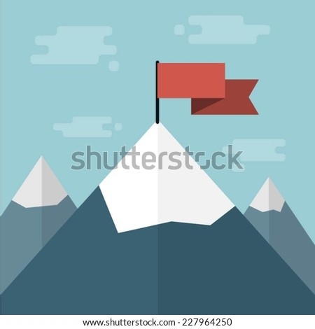 vector red flag on mountain top - stock vector