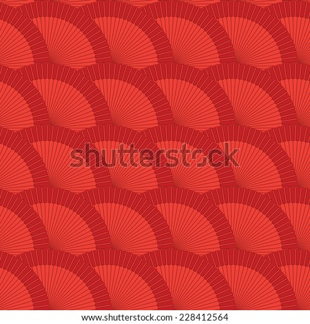 vector red flamenco fan seamless wallpaper background pattern design - stock vector