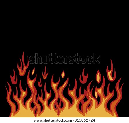 Vector red flames motorcycle style on black - stock vector