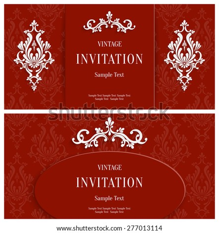 Vector Red Floral 3d Horizontal Backgrounds Set. Template for Christmas and Invitation Cards  - stock vector
