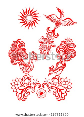 Vector red floral ornament on a white background with birds