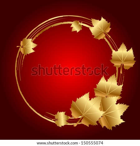 Vector red frame with gold leaves - stock vector