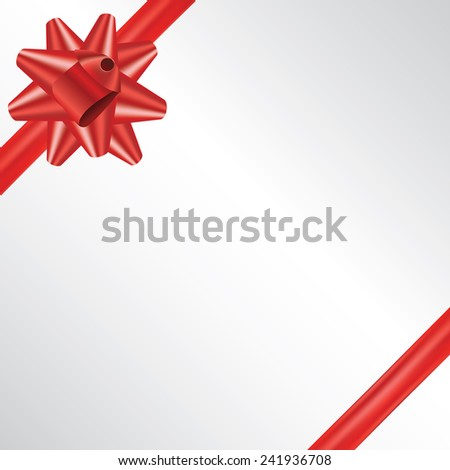 Vector red gift bow and ribbon place for text