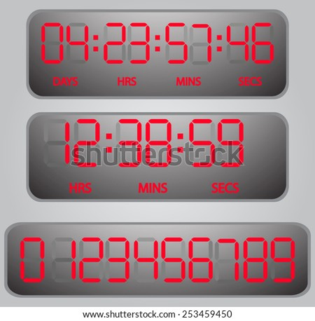 vector red glowing digital numbers - countdown timer  - stock vector