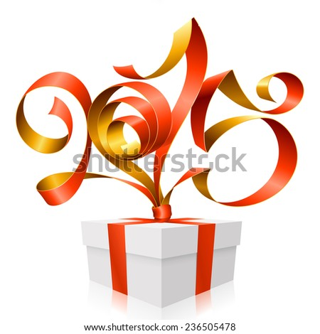 Vector red golden ribbon in the shape of 2015 and gift box. Symbol of New Year - stock vector