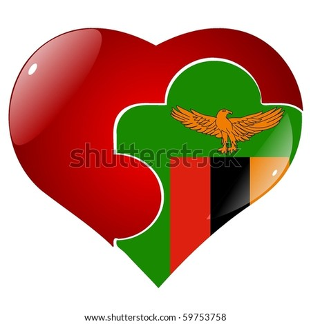 vector red heart with the national flag of Zambia on the puzzle - stock vector