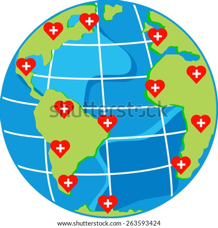 vector red hearts with cross on map globe for world health day - stock vector