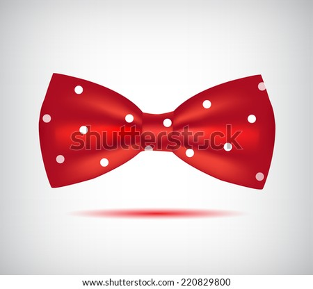vector red hipster bow tie in dots isolated - stock vector