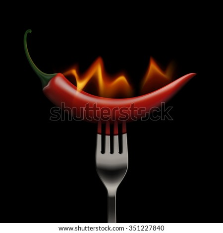 Vector Red Hot Chili Pepper on Fire and Flame on a Fork Isolated on White Background - stock vector