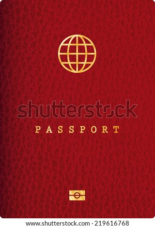 vector red leather passport - stock vector