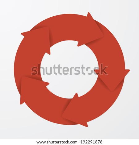 Vector red life cycle diagram. 5 Steps. - stock vector