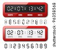 vector red mechanical counter - countdown timer - stock photo