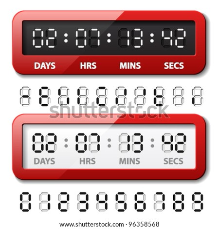 vector red mechanical counter - countdown timer - stock vector