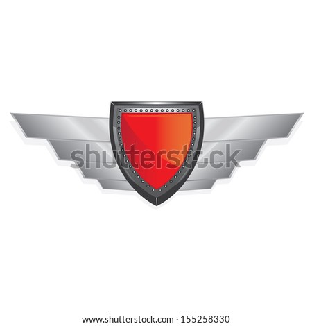Vector red metallic automotive, motorcycle badge with wings. Signs and labels. - stock vector