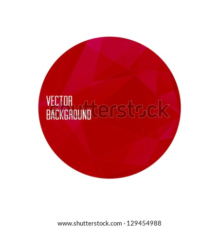 Vector red modern round banner / badge with abstract geometric background