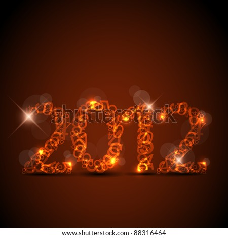 Vector red New Year card 2012 made from numbers - stock vector