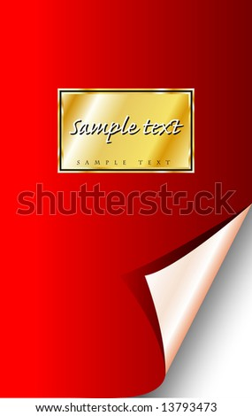 vector red notebook with golden label