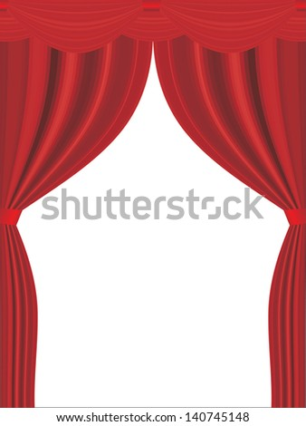 vector red open curtain