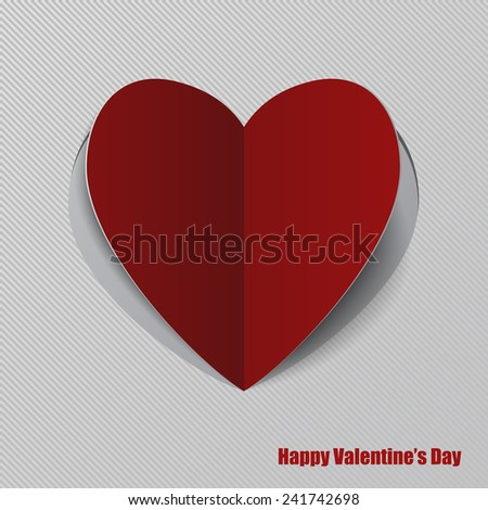 Vector red paper heart with shadow on white background. EPS 10 - stock vector