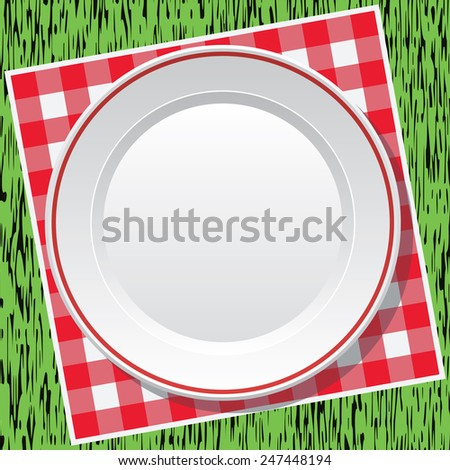 vector red picnic tablecloth and empty plate on green grass - stock vector